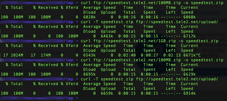Uplink und Downlink des Servers lassen sich mit Curl messen.