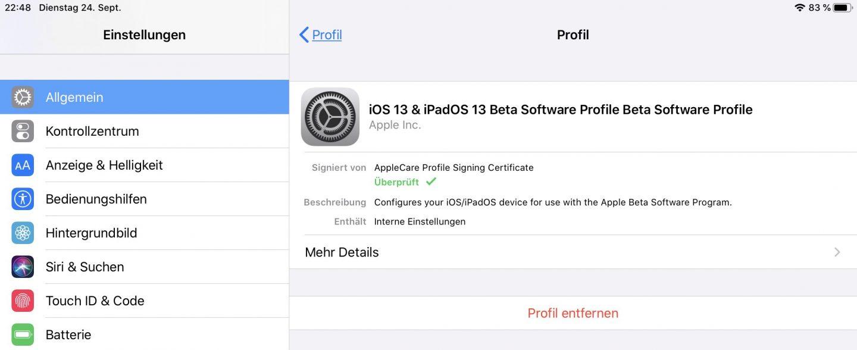 Die Beta von iPadOS und iOS lässt sich leicht entfernen.