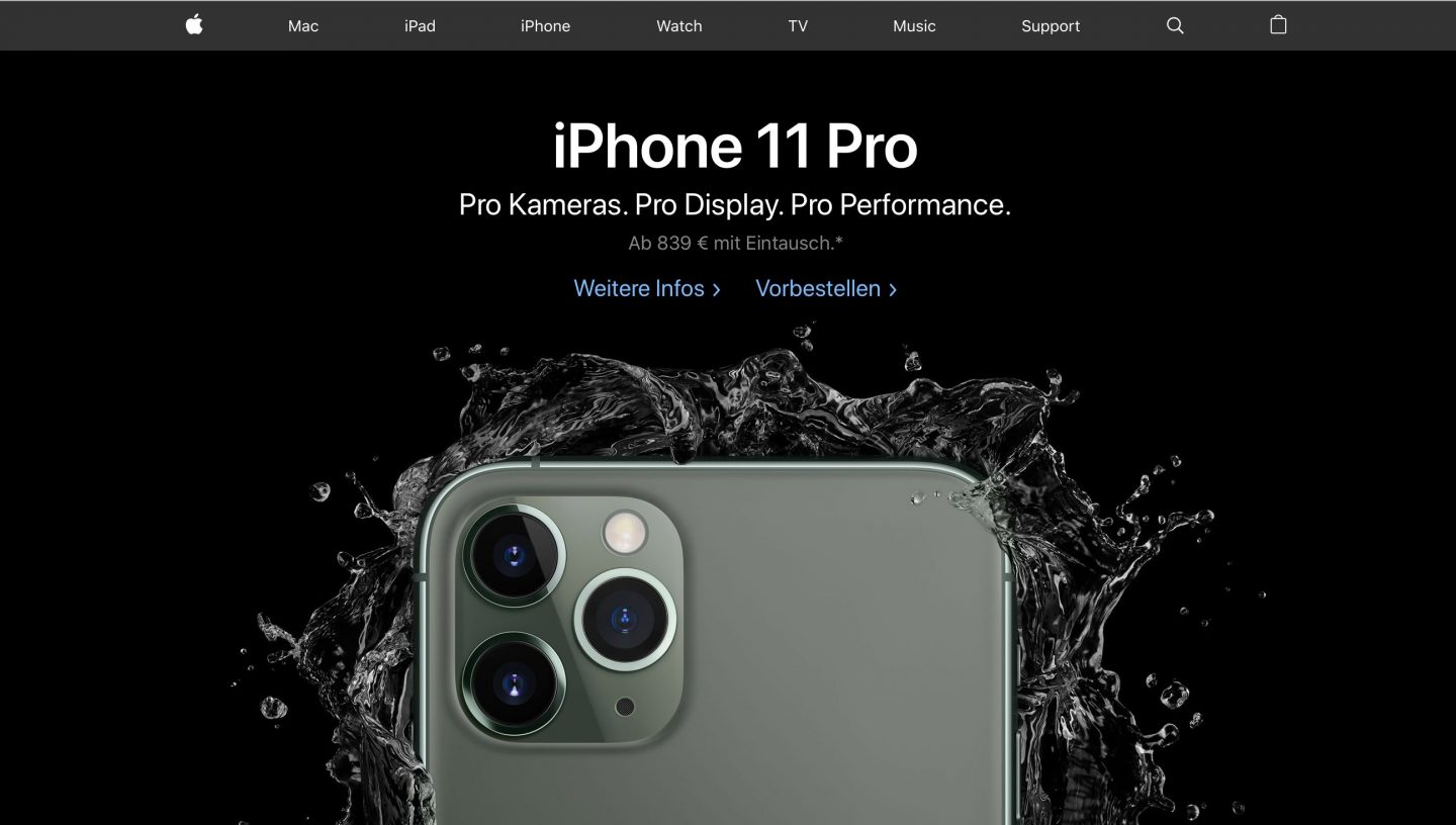 Pro! Pro! Pro! (Quelle: Screenshot Apple.de)