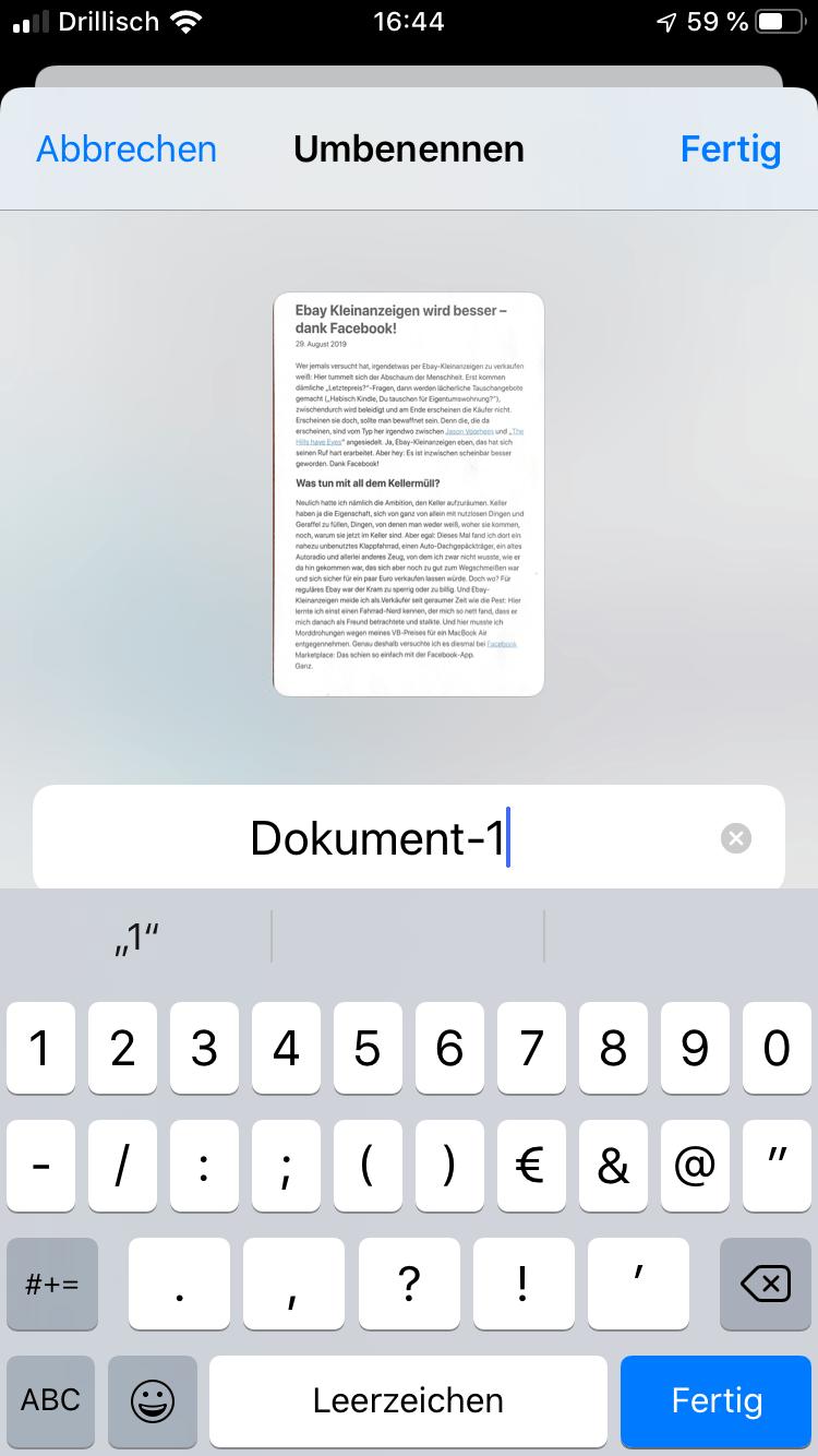Da OCR (noch) fehlt, solltet Ihr dem Dokument einen eindeutigen Namen geben.