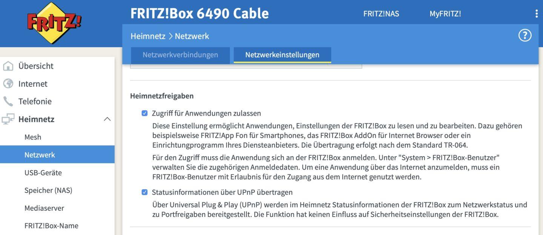 Die FritzBox muss für die Verwendung der App vorbereitet werden.
