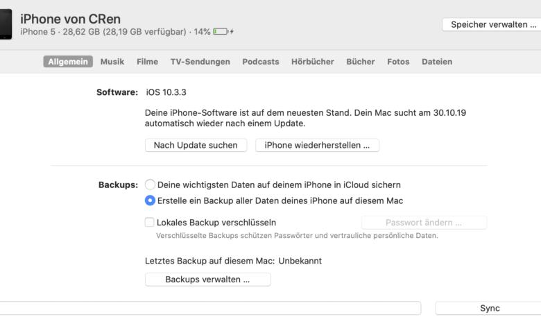 iPhones können schnell per Finder aktualisiert werden.