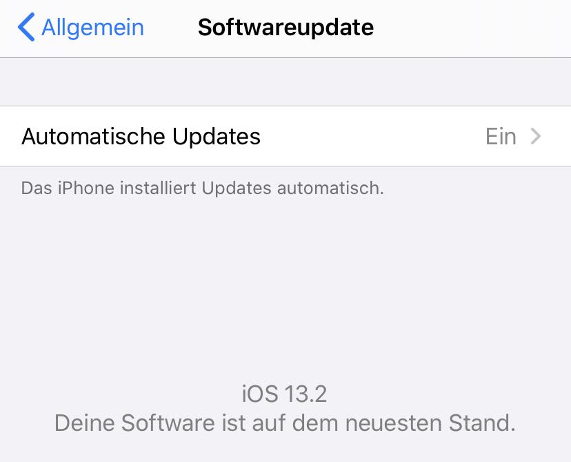 Achtet auf die iOS-Version beider Geräte: Diese muss identisch sein.