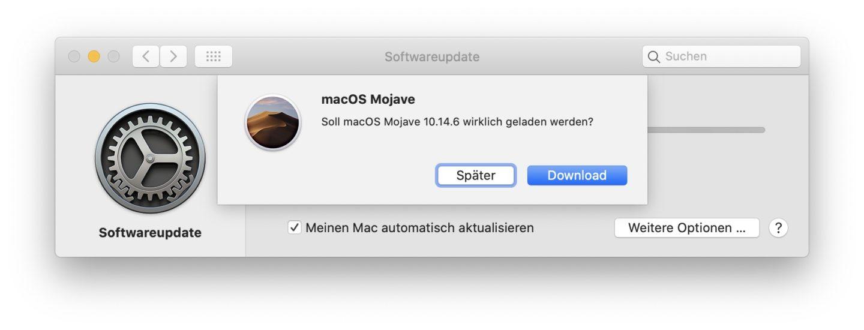 MacOS Mojave wird über die Software-Update-Funktion geladen.