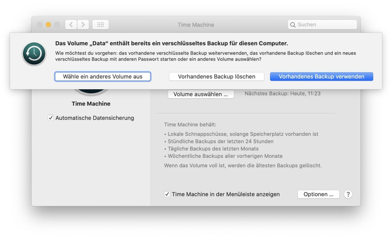 Fertig: Time Machine nutzt jetzt die Time-Capsule im Client-Modus.
