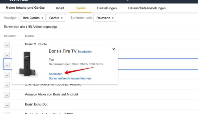 Amazon Fire TV aus Konto abmelden