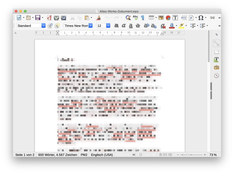 Libre Office kann alte Works-Dateien problemlos öffnen.