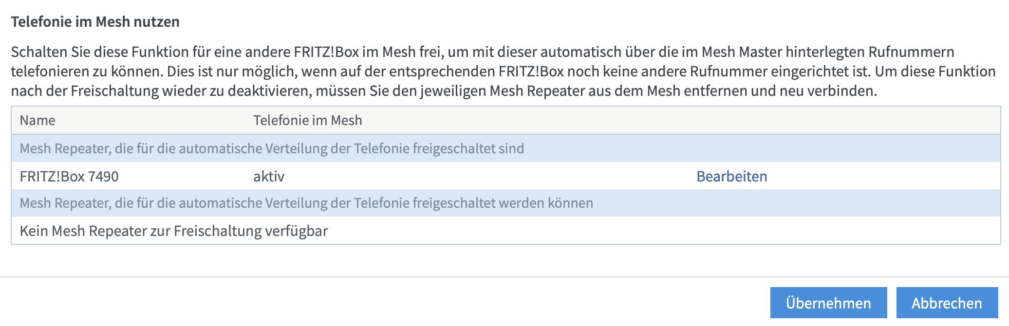 Fertig: Die zweite FritzBox dient als zusätzliche Telefondose.