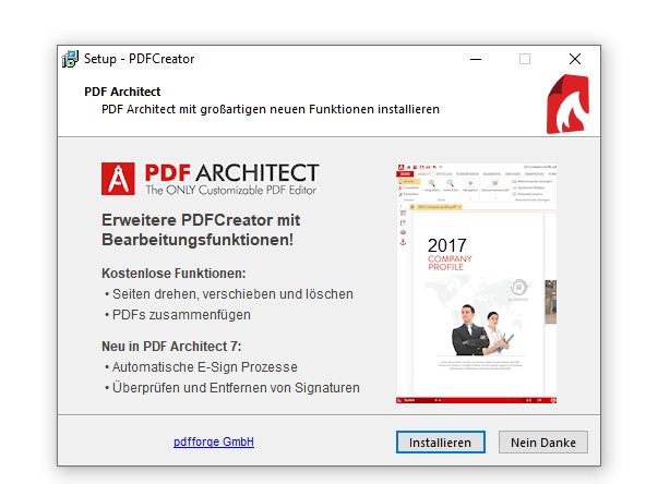 Der PDF Architekt muss zwei mal abgewählt werden.