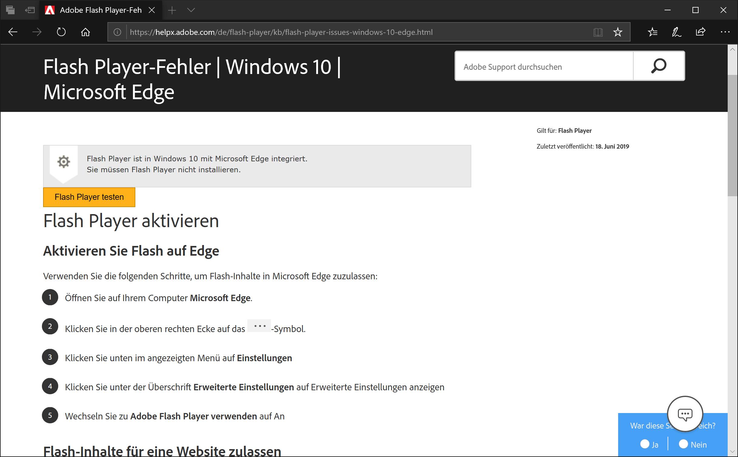 Toll: Der Edge-Browser braucht Flash gar nicht. Höhö.
