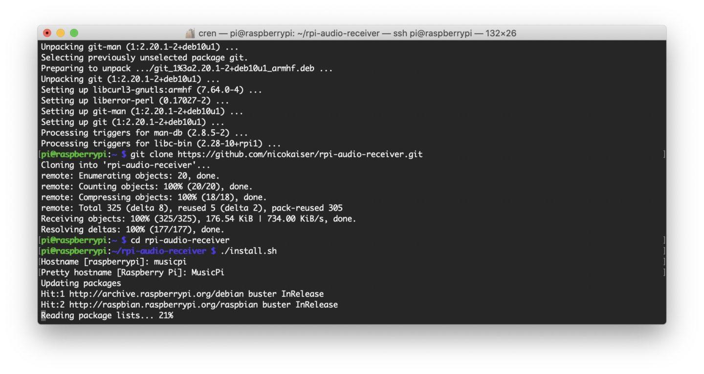 Die Installation ist per SSH schnell erledigt.