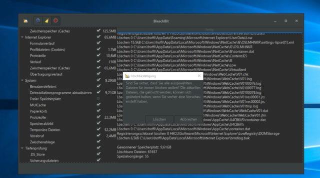 BleachBit Dateien löschen