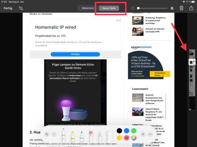 iPad Seite als PDF speichern