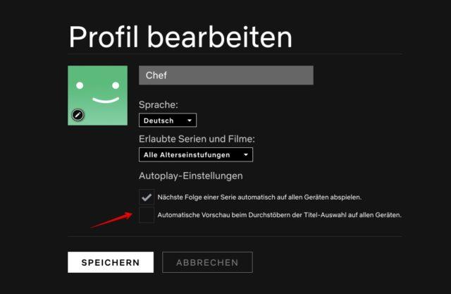 Netflix automatische Trailer abschalten