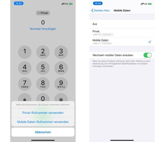 iPhone Dual-SIM und eSIM anpassen