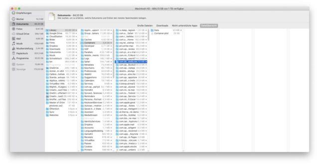 macOS Dateiübersicht