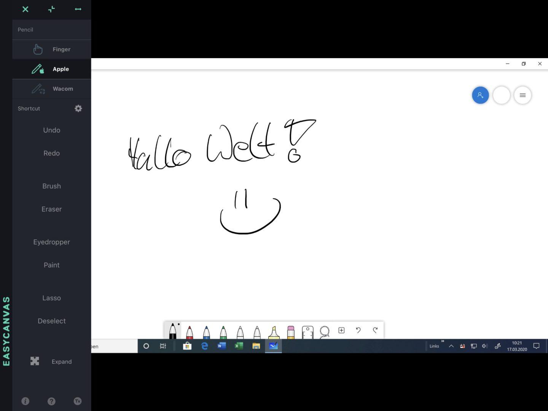 Fertig: Das iPad zeigt den Windows-Desktop, auf dem Ihr mit der App Ink Journal direkt zeichnen könnt.