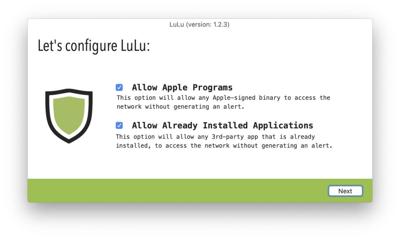 Nach einem Neustart meldet sich LuLu mit einem kurzen Setup.