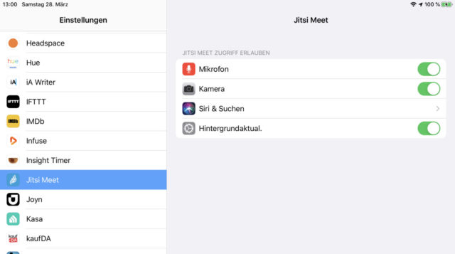 iOS Kamera und Mikrofon erlauben