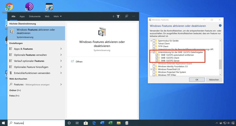 Mit drei Klicks ist SMB 1 unter Windows wieder aktiv.