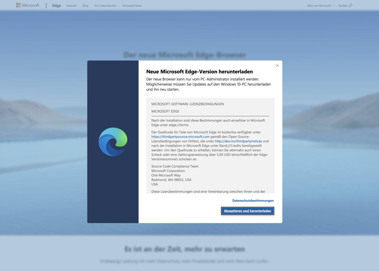 Mit wenigen Klicks könnt Ihr Edge Chromium installieren.