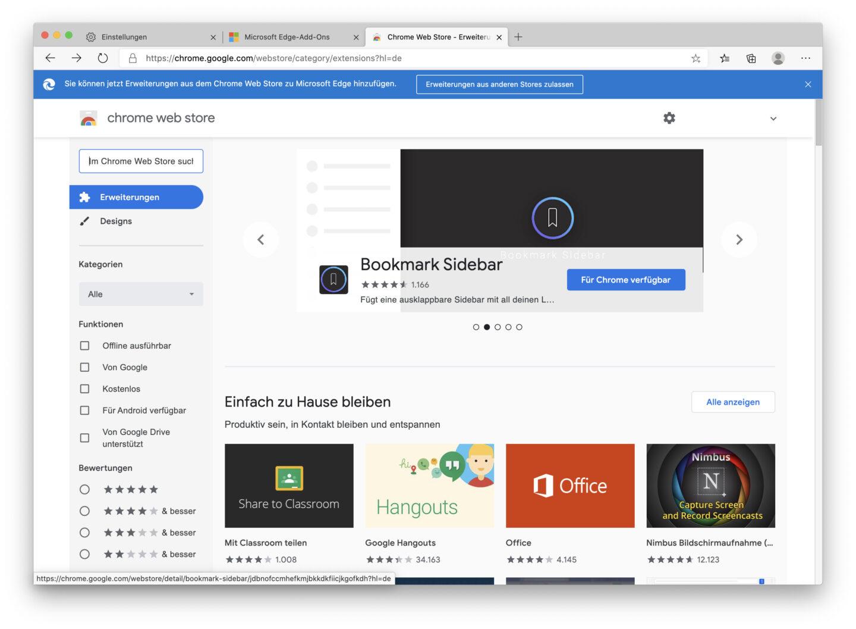 Edge erlaubt die Nutzung von Chrome-Erweiterungen.