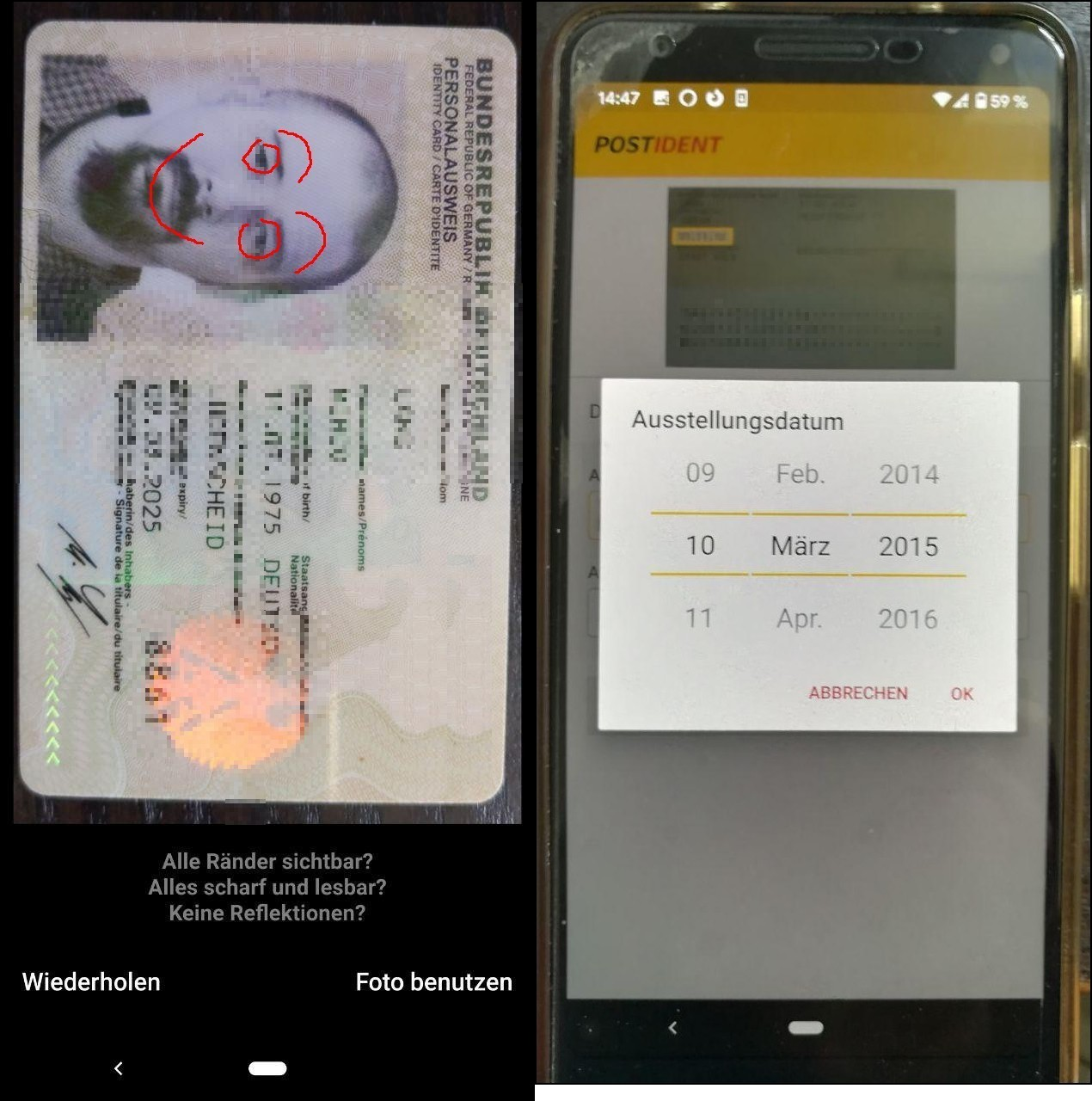 fotos vom registrieren einer sim karte per postident videochat