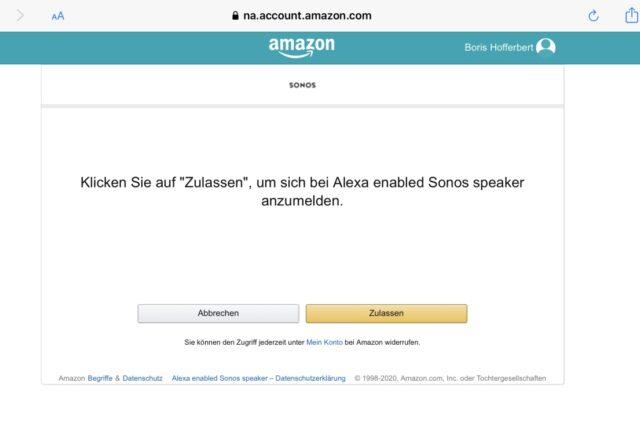 Alexa Sonos zulassen