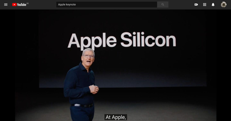 Eigene Chipproduktion bei Apple Silicone: Das bringt mehr, als auf Zulieferer zu warten. (Screenshot Youtube Apple WWDC 2020)