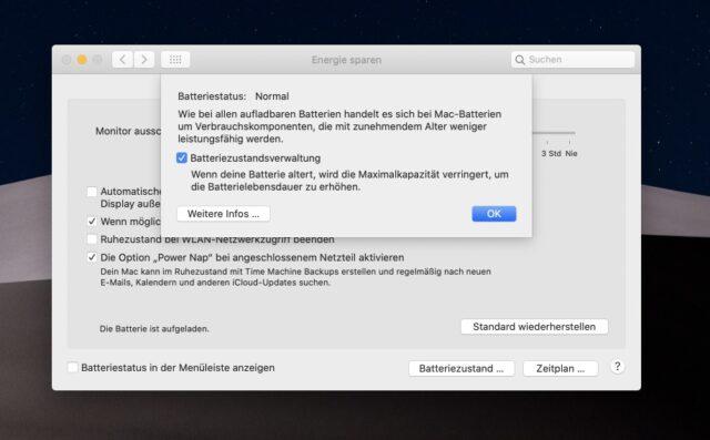 Batteriezustandsverwaltung macOS MacBook abschalten