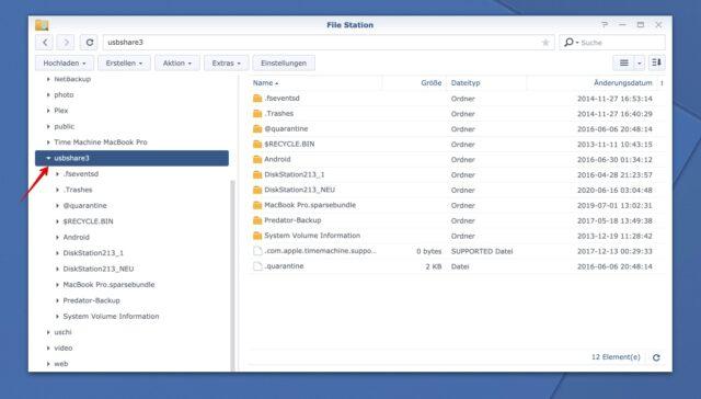 Synology NAS externe Festplatte File Station