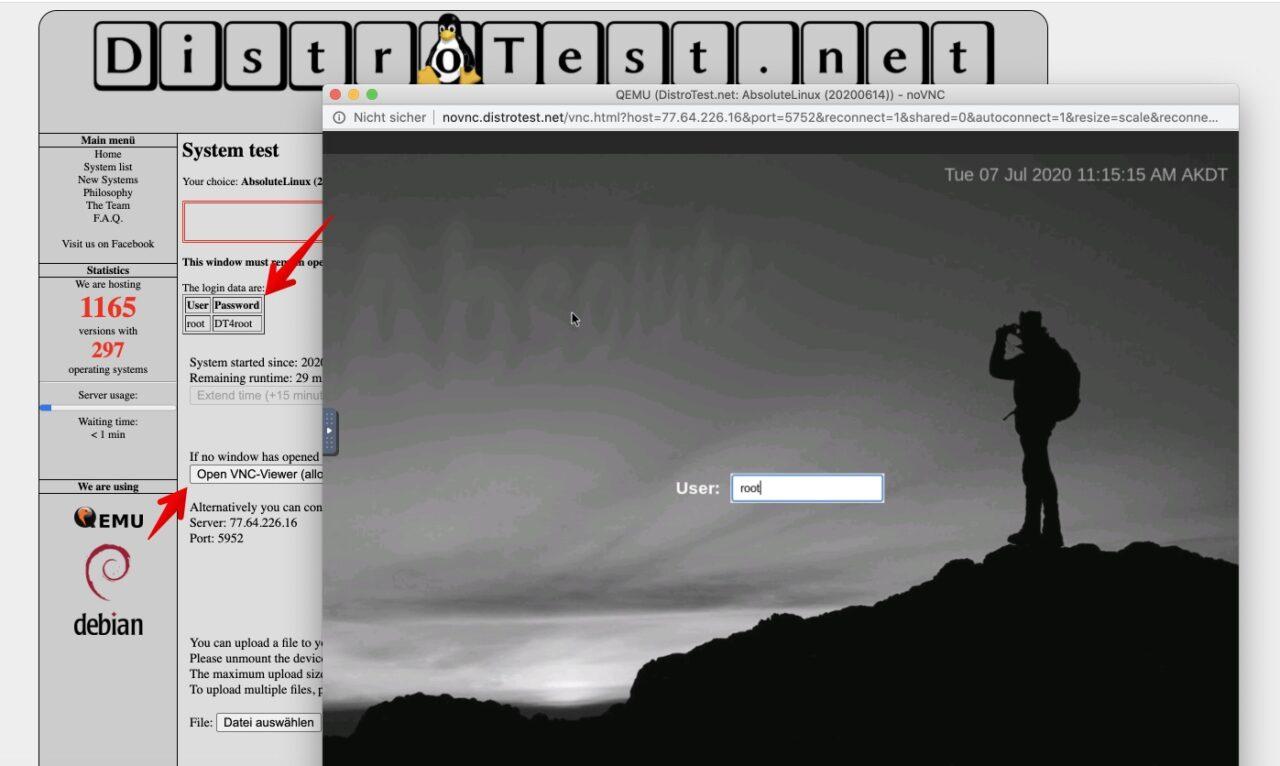 Distrotest QEMU User Browser