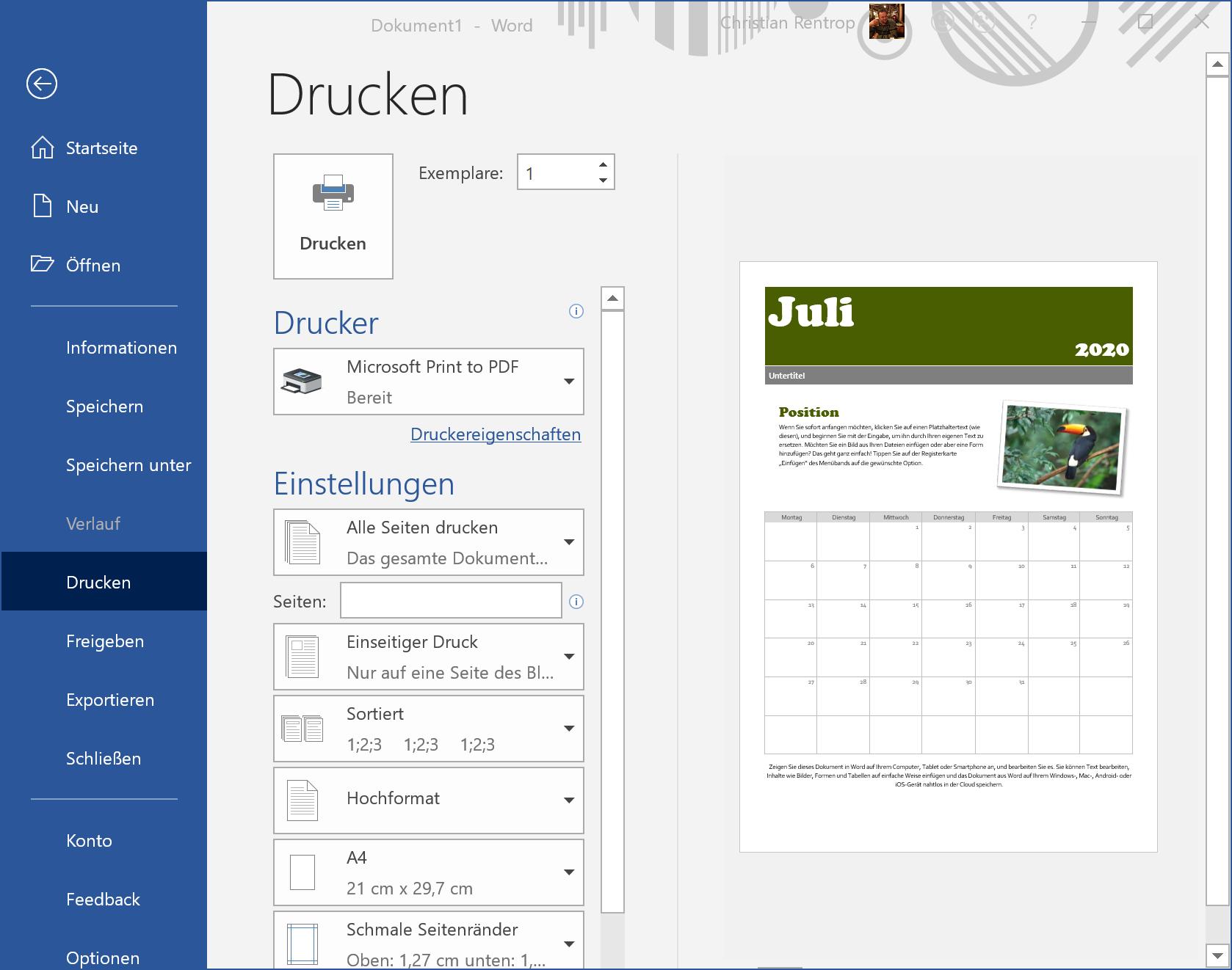 Windows 10 hat standardmäßig einen PDF-Drucker an Bord.