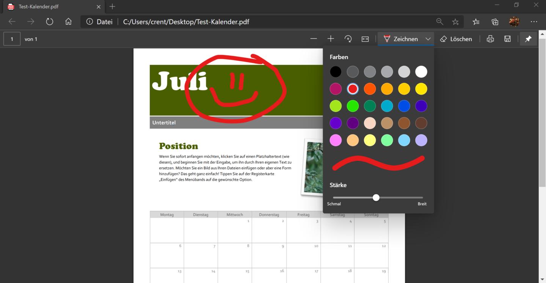 Der Edge-Browser erlaubt auch einfache Bildbearbeitung bei PDFs unter Windows.