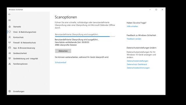 Windows 10 Defender Scan