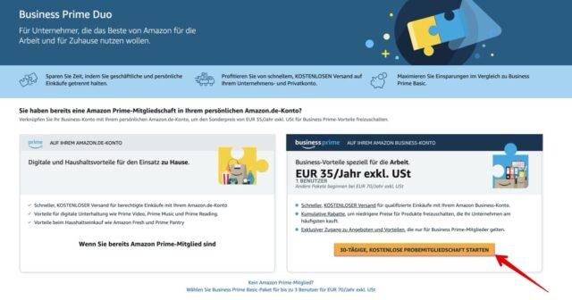 Amazon Business Prime Duo bestellen