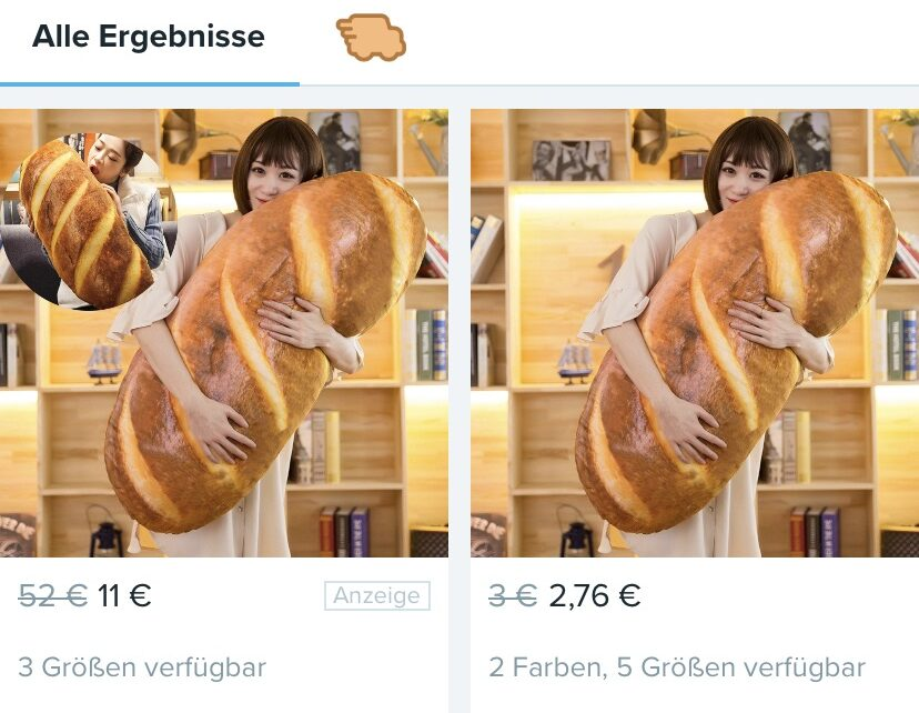 Ein Brot-Kissen – wer braucht es nicht? (Screenshot Wish-App)