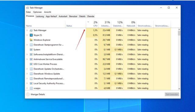 Windows 10 CPU Auslastung