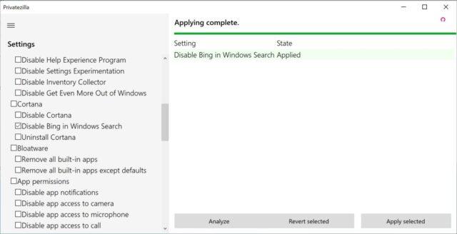 Windows 10 Privatezilla