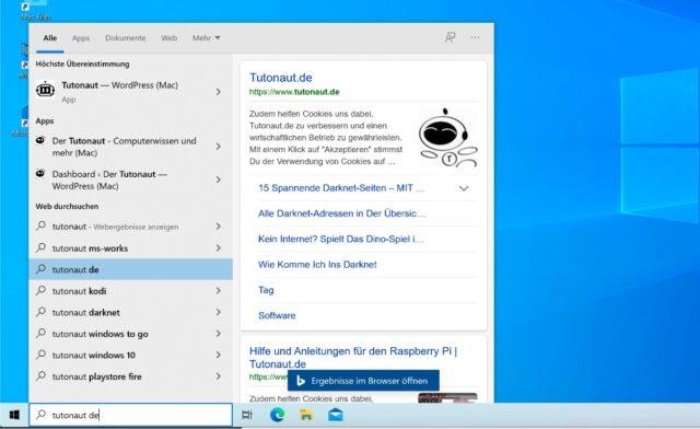 bing suche start menu windows 10