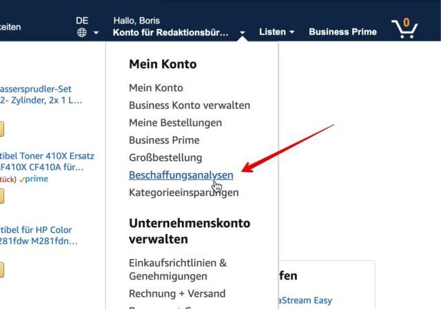Amazon Business Beschaffungsanalysen