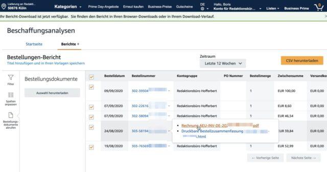 Beschaffungsanalysen Amazon Business Bestellungen