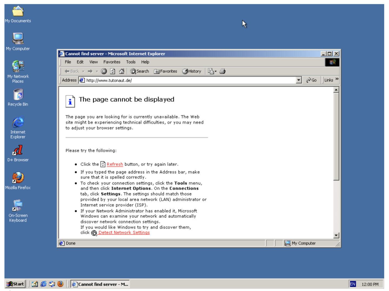 Uga! Internet-Explorer 5 nicht mögen moderne Internetseite! Uga!