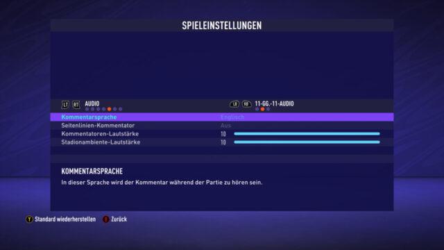 FIFA 21 Audio Kommentar Sprache