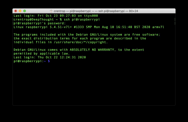 Per SSH könnt Ihr Euch von PC und Mac auf den Pi verbinden.