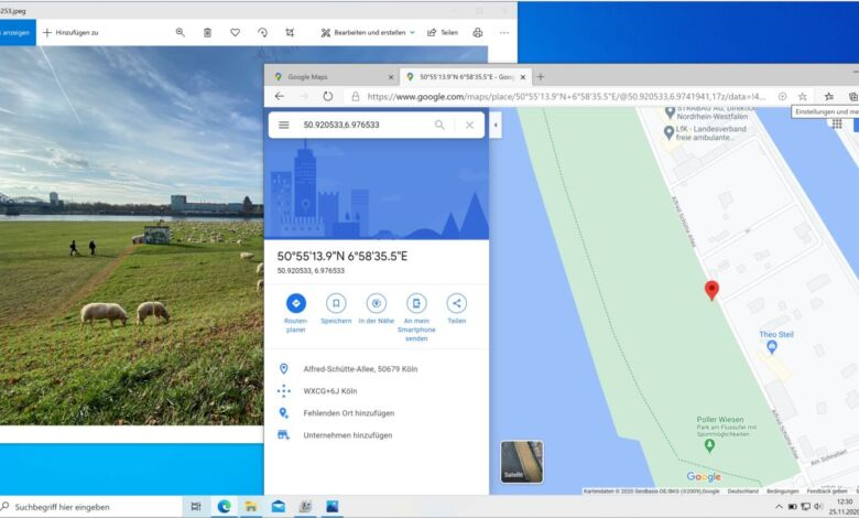 Foto Google Maps GPS-Daten