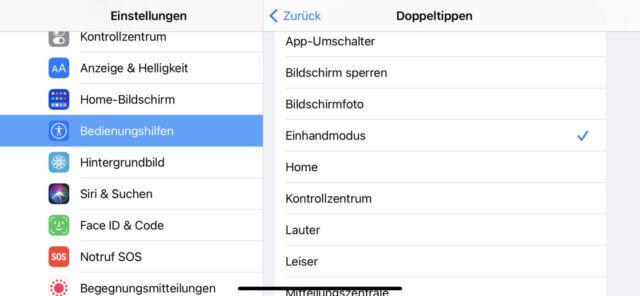 iOS Back Doppeltippen