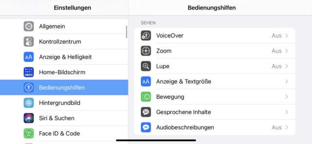 iOS Bedienungshilfen