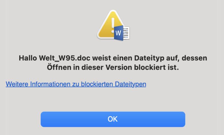 Word mag keine alten Doc-Dateien.