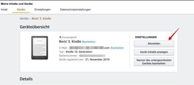 Amazon.de Kindle abmelden
